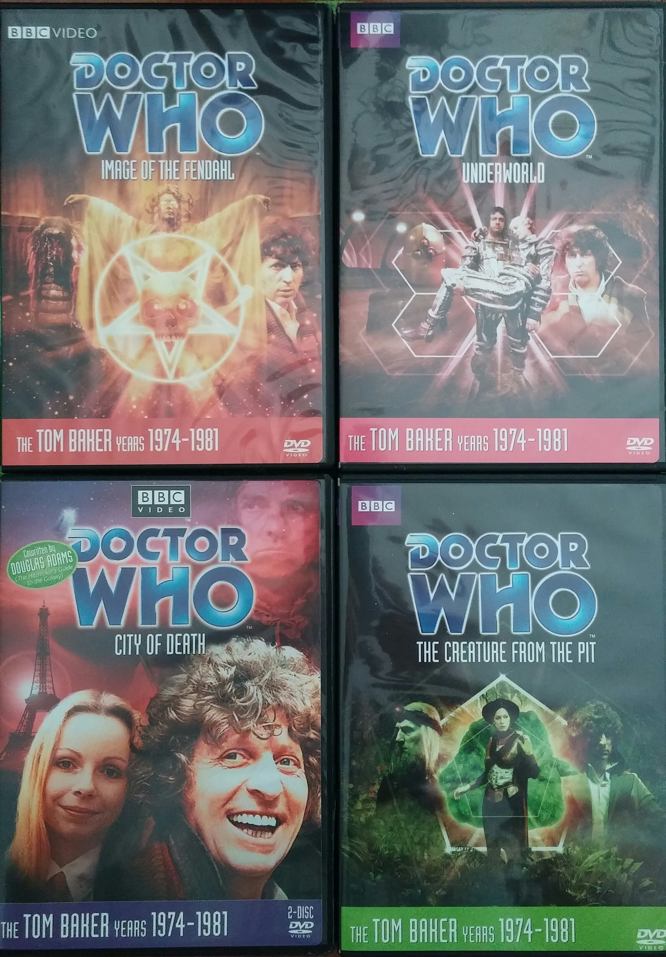 Four Doctor Who DVDs: Image of the Fendahl, Underworld, City of Death, and The Creature from the Pit